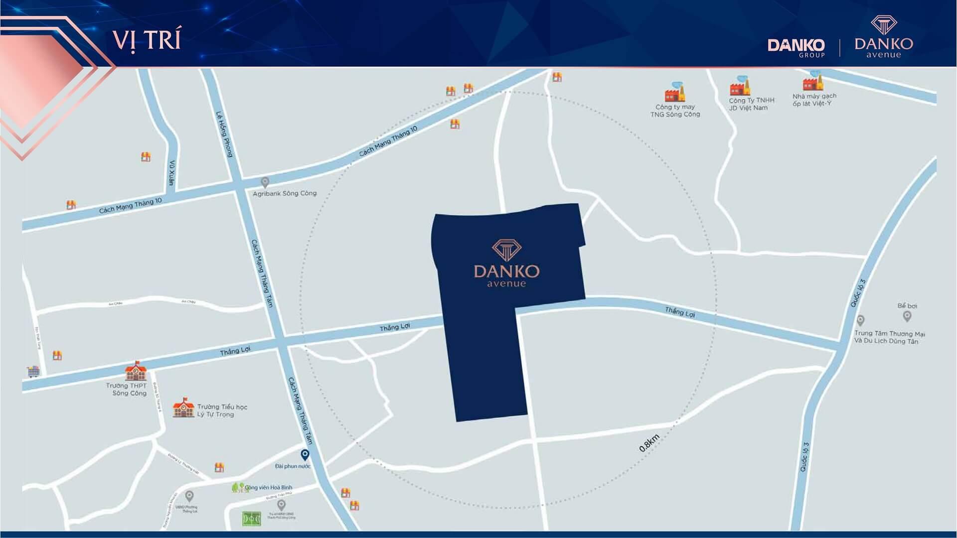 vị trí dự án danko avenue