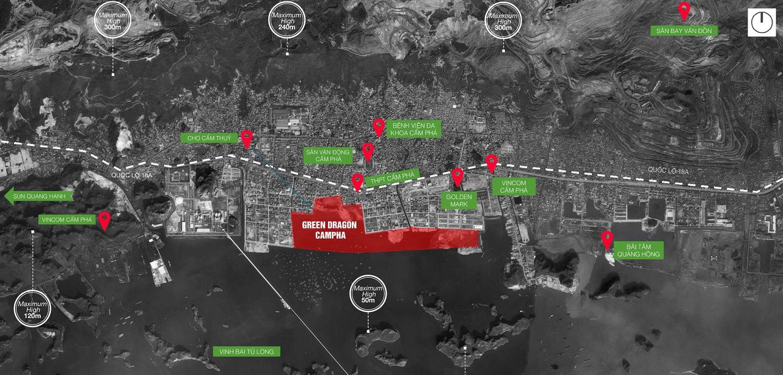 vị trí dự án green dragon city cẩm phả