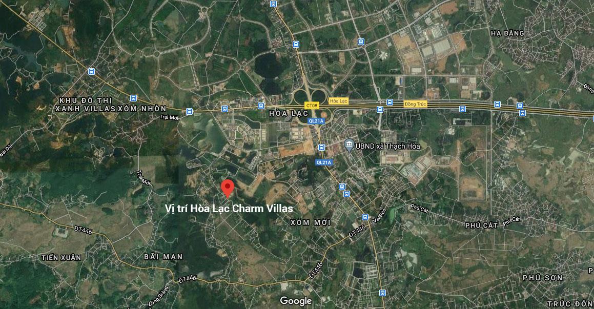 vị trí dự án hòa lạc charm villas