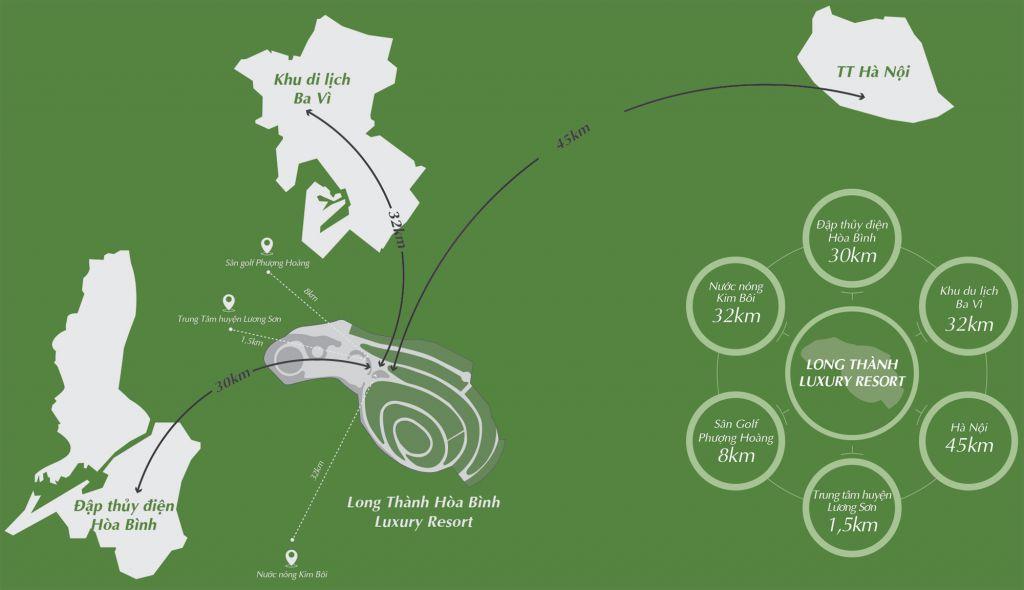 vị trí dự án long thành hòa bình luxury resort