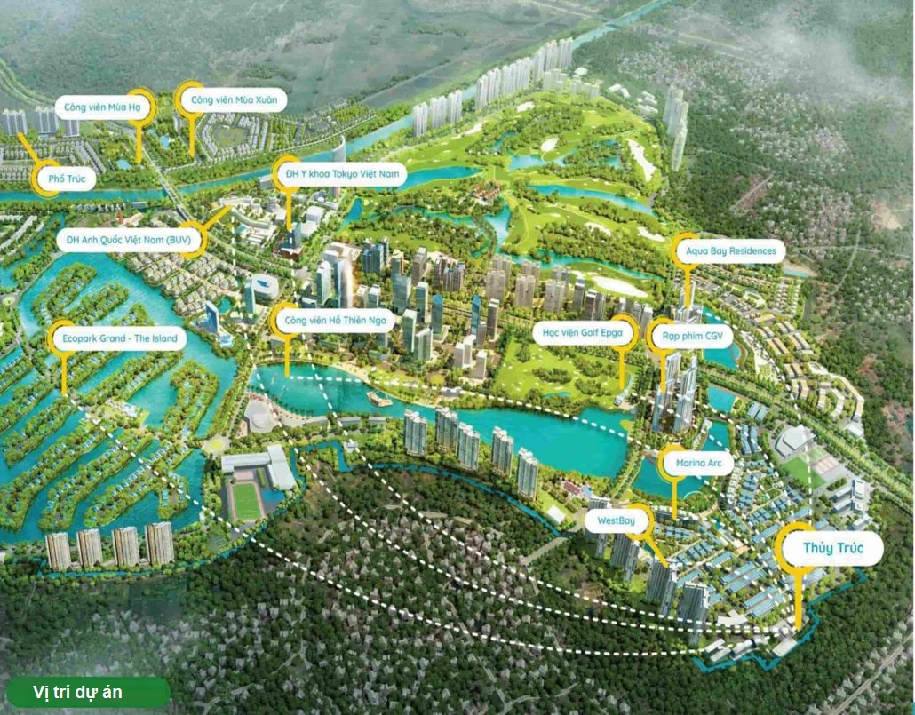 vị trí dự án nhà phố thủy trúc residences ecopark