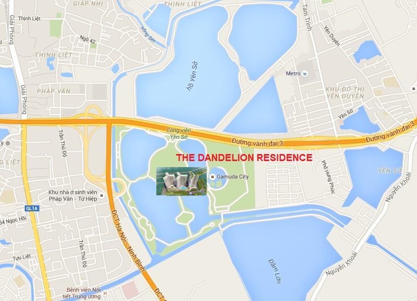 vị trí dự án the dandelion residence yên sở
