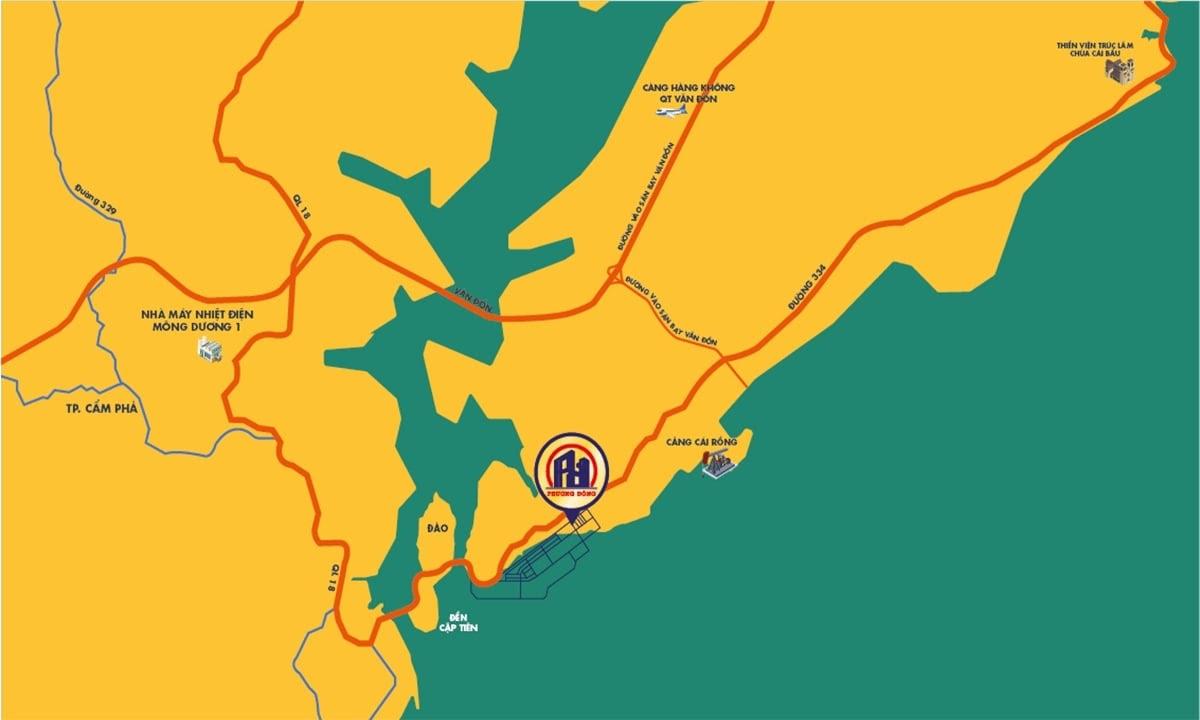 vị trí dự án wonder island phương đông vân đồn
