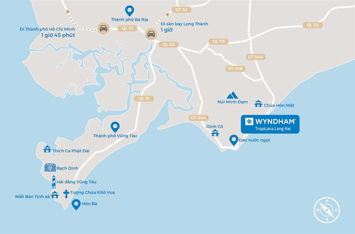 vị trí condotel wyndham tropicana long hải