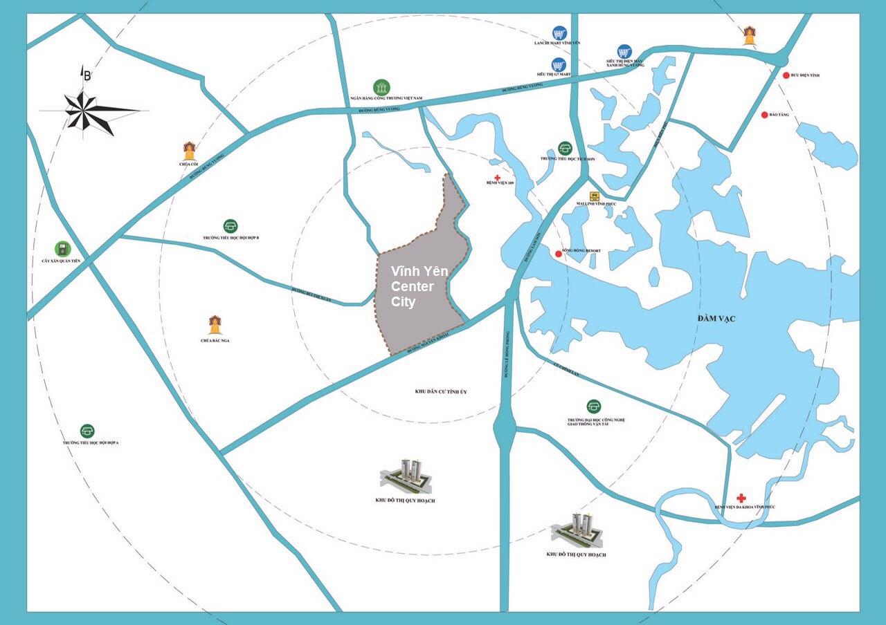 vị trí dự án vĩnh yên center city