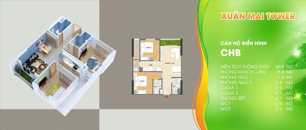 thiết kế căn hộ loại b chung cư xuân mai tower thanh hóa